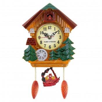 Часы настенные с кукушкой елки и водяное колесо