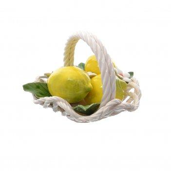 Корзина декоративная с волнистым краем с лимонами 20 см