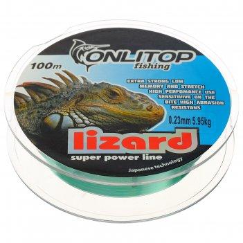 Леска капрон lizard зеленая d=0,23 мм, 100 м, 5,95 кг