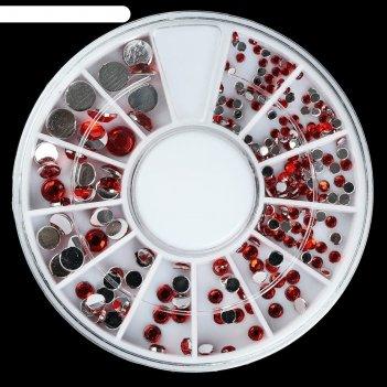 Стразы для декора ногтей, 1,5/2/2,5/3/4/5 мм, цвет красный