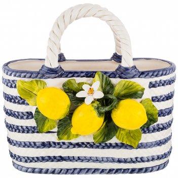 Изделие декоративное корзина с лимонами 33*20 см. высота=32 см.