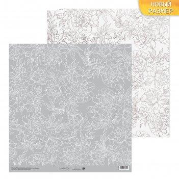 Бумага для скрапбукинга цветочные кружева 30,5 х 30,5 см