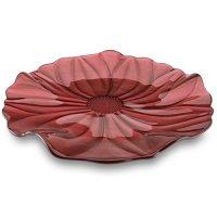 Блюдо круглое, 37 см, стекло, красное, серия magnolia, ivv,