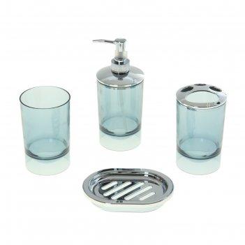 Набор в ванную свежесть, 4 предмета: мыльница, дозатор для мыла, 2 стакана
