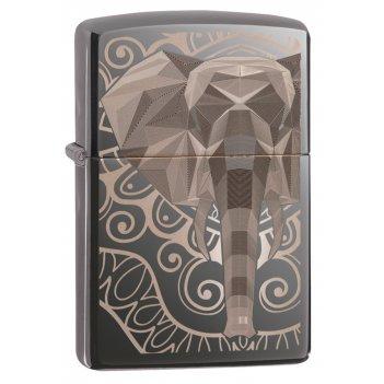 Зажигалка zippo elephant fancy fill design с покрытием black ice®, латунь/