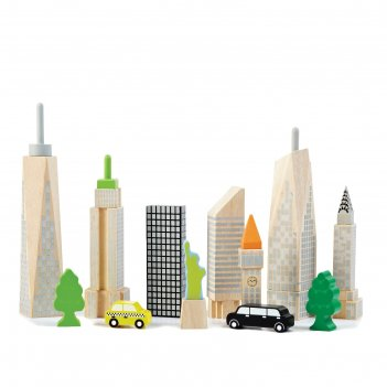 Деревянный игровой набор городские небоскрёбы, светится в темноте