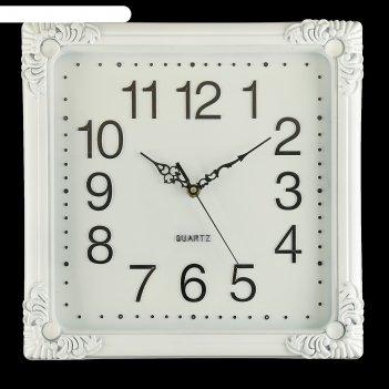 Часы настенные белые квадрат в стиле ампир 35*35 см