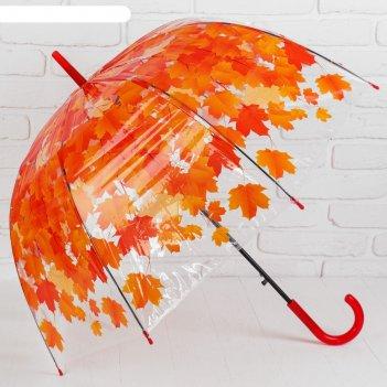 Зонт жен.п/автомат трость h=54см r=42,5 см листопад цвет оранжевый