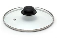 Крышка стекл метал/обод пласт кнопка 18см jarko