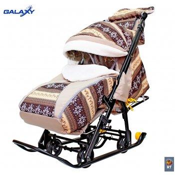 Санки-коляска snow galaxy luxe круги на черном на больших мягких колесах+с