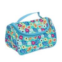 Косметичка-сумочка полянка, 1 отдел, ручка, с зеркалом, цвет голубой