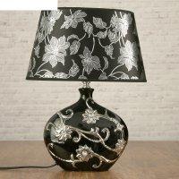 Лампа настольная с абажуром е14 40 вт серебристые цветы на чёрном стразы 3