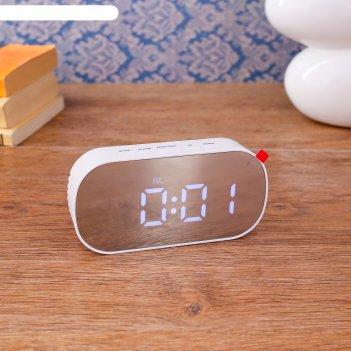 Часы-будильник электронные, с термометром, белые цифры, овальные, 13х7 см