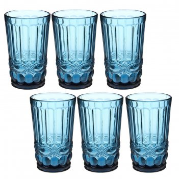 Набор стаканов 350 мл ла-манш, 8х8х12,5 см, 6 шт, цвет синий