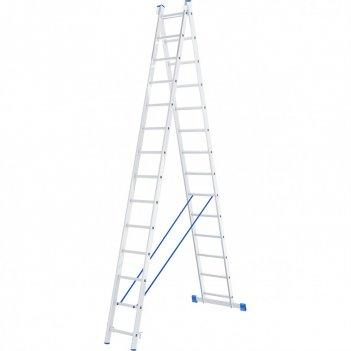 Лестница, 2 х 14 ступеней, алюминиевая, двухсекционная, россия, сибртех