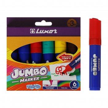 Фломастеры 6цв luxor jumbo утолщенные, смываемые, картон, европодвес 6190/