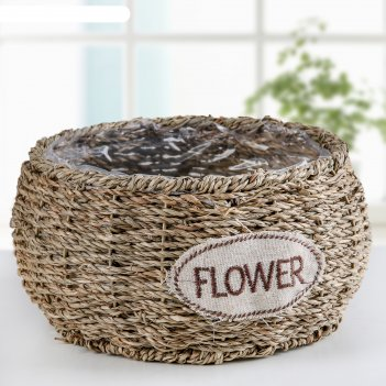 Кашпо плетеное цветы 21х21х10,5 см, цвет коричневый