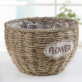 Кашпо плетеное цветы 22х22х14 см, цвет коричневый