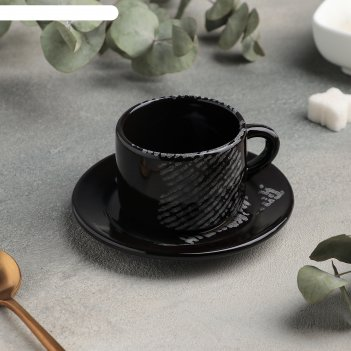 Кофейная пара: чашка 80 мл с блюдцем 6 см, h 4,7 см gazzetta nero