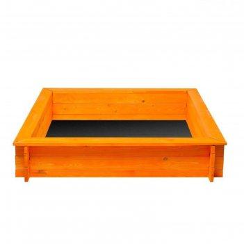 Песочница деревянная «афина», 110 х 110 х 25 см., 4 лавки, подложка, цвет