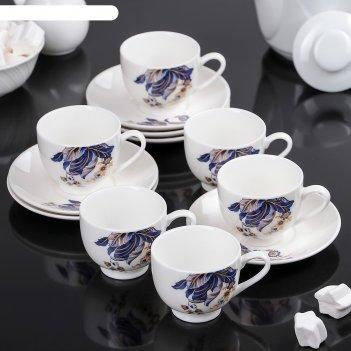Сервиз кофейный роспись, 12 предметов: 6 чашек 90 мл, 6 блюдец 12х1,5 см