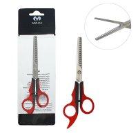 Ножницы парикмахерские филировочные, чёрно-красная пластиковая ручка, с уп