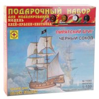 Набор сборной модели - корабль пиратский бриг черный сокол в подар. коробк