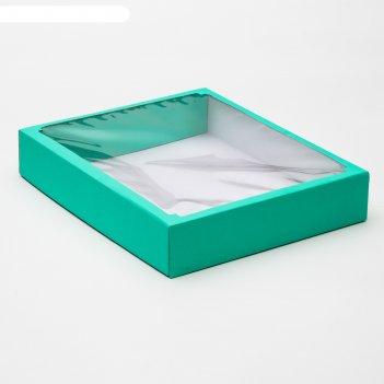 Коробка сборная, крышка-дно,  с окном, мятная, 37 х 32 х 7 см