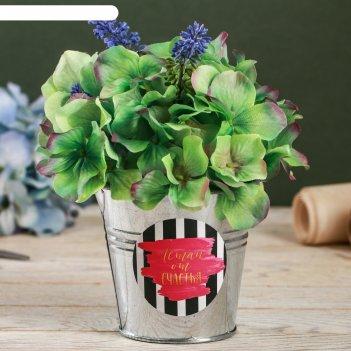 Металлическое кашпо для цветов «летай от счастья», 9,5 x 9,5 см