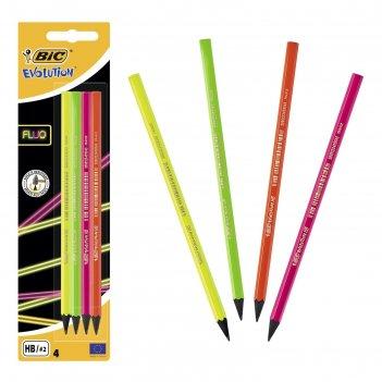 Набор карандашей чернографитных, 4 шт., bic evolution fluo hb, блистер