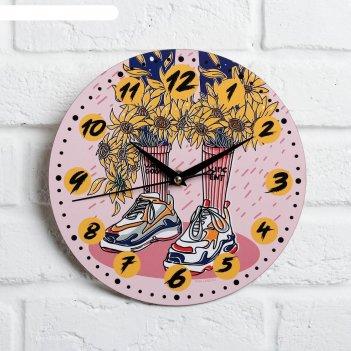 Часы дерево настенные подсолнухи