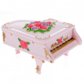 Шкатулка музыкальная механическая пианино с цветами микс 9,5х17х12,5 см