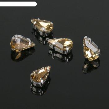 Стразы в цапах (набор 5 шт), 6*10мм, цвет коричневый в серебре
