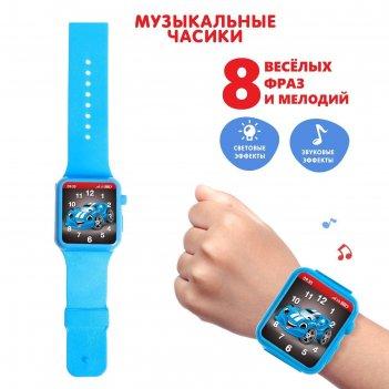 Часы музыкальные «супер гонщик», световые и звуковые эффекты, цвет синий,
