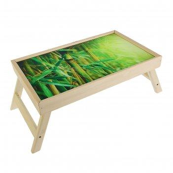 Столик-поднос бамбук, стеклянная поверхность