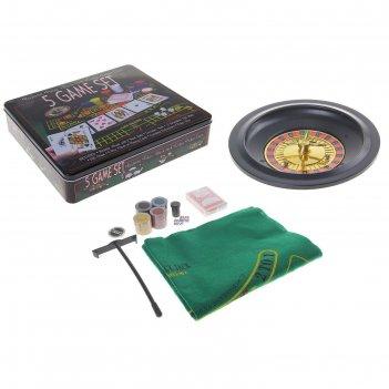 Игра рулетка: 100 фишек с номиналом, 1 колода карт, 2 шарика, 4 кубика
