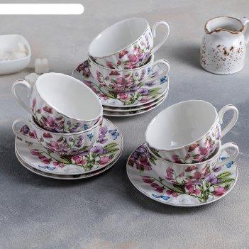 Сервиз чайный колокольчики, 12 предметов: 6 чашек 180 мл, 6 блюдец