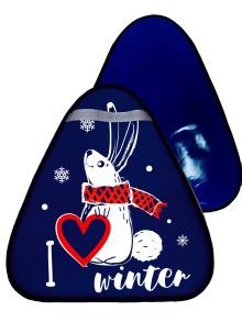 Мт11517 сани-ледянка треугольная зайчик цвет синий, 42*48см