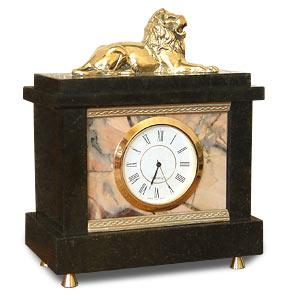 Настольные часы из яшмы лев (арт. 3128) камень яшма