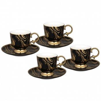 Чайный набор lefard на 4 персоны 8 пр. 250 мл черный (кор=6наб.)
