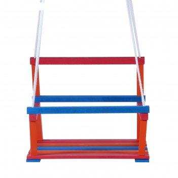 Качели подвесные классик-о, деревянные, разноцветные, капроновый шнур, 28x