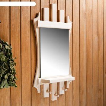 Зеркало резное лесенка с 3мя крючками, 75x40 см