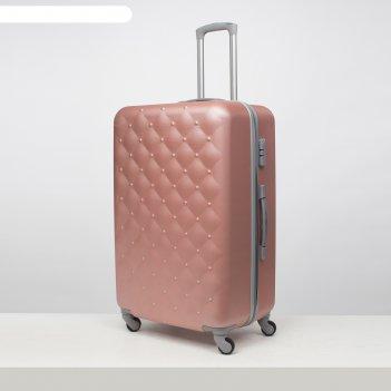 Чемодан большой 28, отдел на молнии, кодовый замок, 4 колеса, цвет розовый
