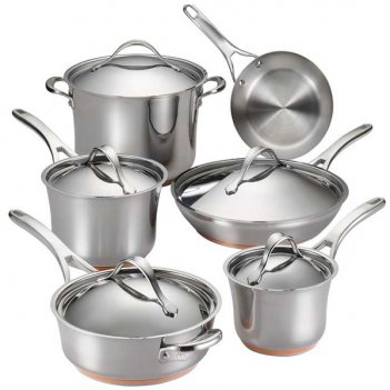 Набор кухонной посуды из 11 предметов anolon нувел стейнлесс