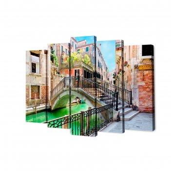 Модульная картина на подрамнике городской мостик, 2 — 63x25, 2 — 71x25, 1