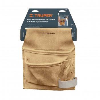 Поясная сумка для инструмента truper poca-6, кожа 1.8 мм, 6 отделений, 25х