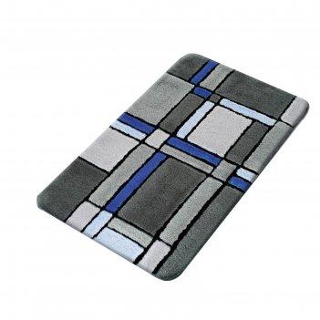 Коврик для ванной комнаты gravure, синий/голубой, 70x120 см