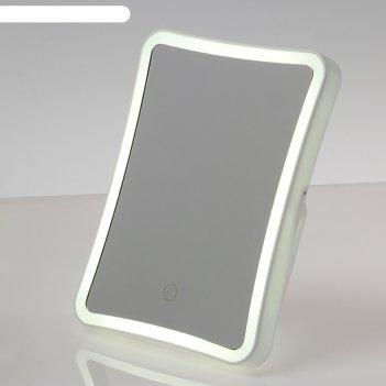 Зеркало с подсветкой luazon kz-03, 4*ааа (не в компл), настольное, сенсорн