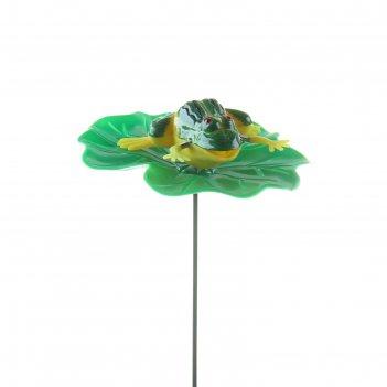 Декор садовый лягушка на листе, штекер 60 см, микс цвета