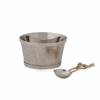 Чаша сервировочная с ложкой «плющ и дуб», диаметр: 10 см, материал: нержав